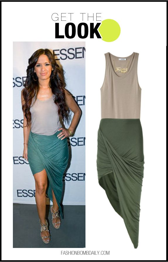 Get the Look: Rocsi Diaz's Essence Best in Black Beauty Awards Helmut Lang Terra Tank and Olive Slack Asymmetric Jersey Skirt