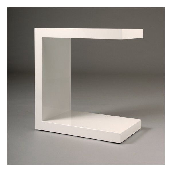 Table de chevet minimaliste et design en laque blanche tr s graphique maiso - Table de chevet simili cuir ...