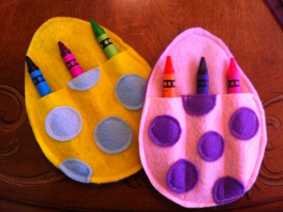 Felt Easter Egg Crayon Holders with Crayons by HomemadeHeartfelt