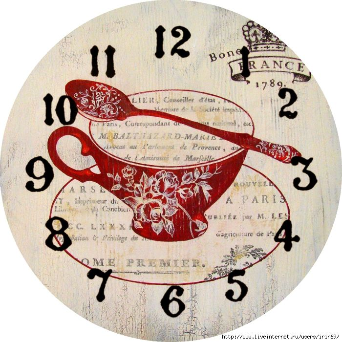 Ruby Red Teacup With Spoon Clock Face
