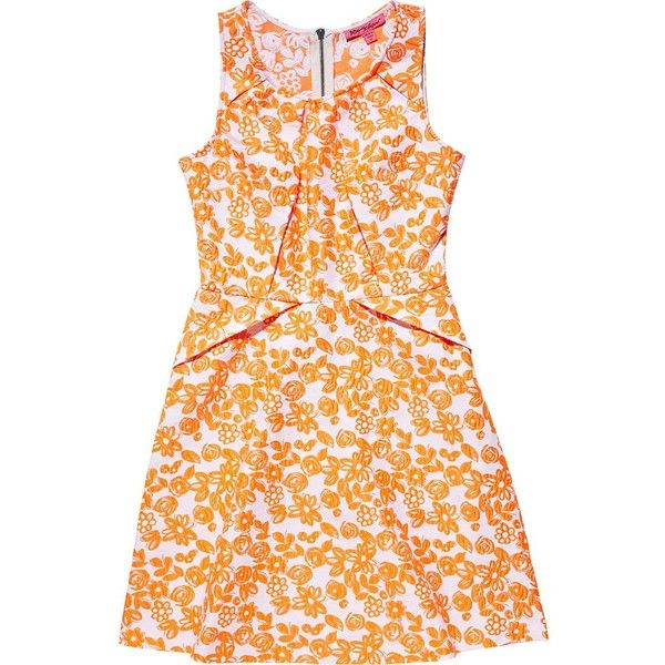 Betsey Johnson Sleeveless Mod Floral Dress (165 BRL) ❤ liked on Polyvore featuring dresses, apparel, orange, sleeveless dress, summer dresses, orange summer dresses, fit flare dress and pleated dresses