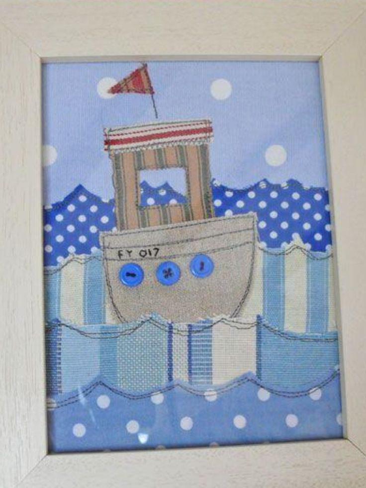 Boat, fabric postcard?