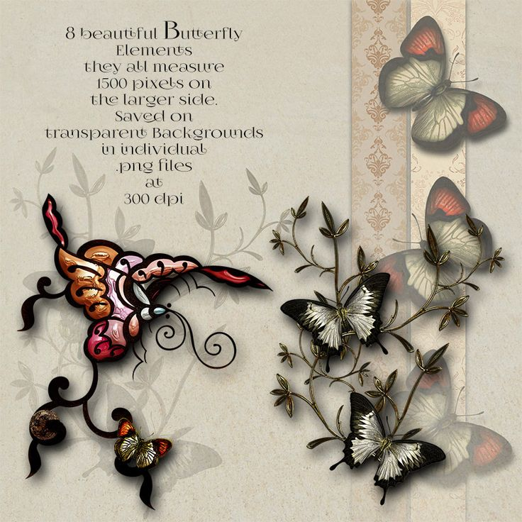 Butterfly Elements and Backgrounds is a collection of 8 beautiful embellished Elements and 6 high resolution Backgrounds. Each element is 1500 pixels on the larger side. They have all been saved on transparent backgrounds in individual .png files at 300 dpi. The backgrounds and quickpages measure 8x 8 (2400x2400 pixels)and are also 300 dpi. Perfect for all your personal and commercial creations, including Scrapbooking and Web design.   They are great for printing too