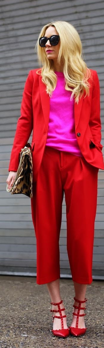 Break up monochromatic red with bright pink and instantly boost the energy levels of everyone around you. #GoBold #BoldlyGo #Style  workinglook.com