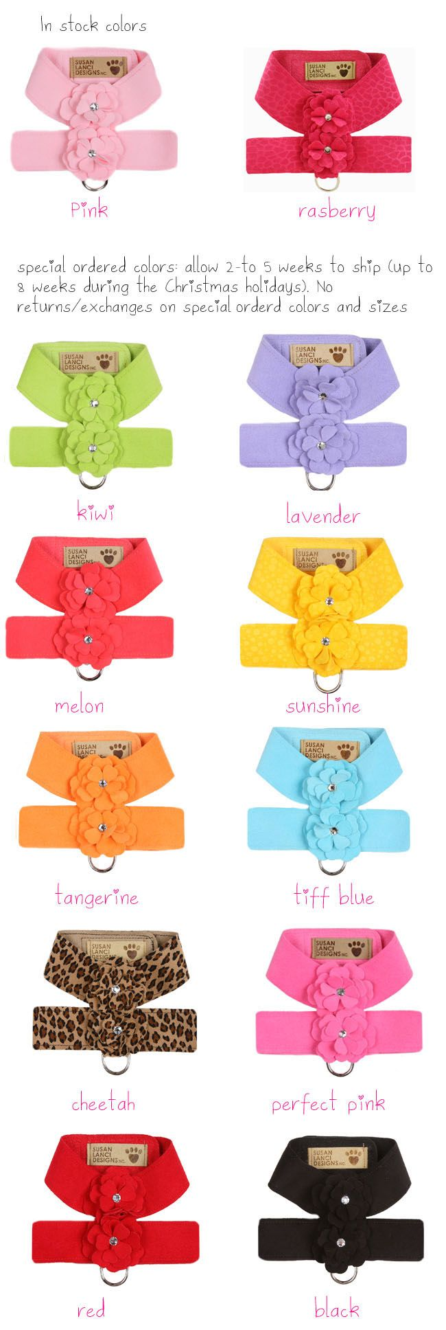 Fancy Dog Harness and Leash, Designer Dog Harness, Crystal Pet Harness, Flower Harness For Dogs Online Dog Boutique