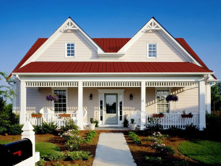 White With Red Metal Roof Home Exterior Pinterest