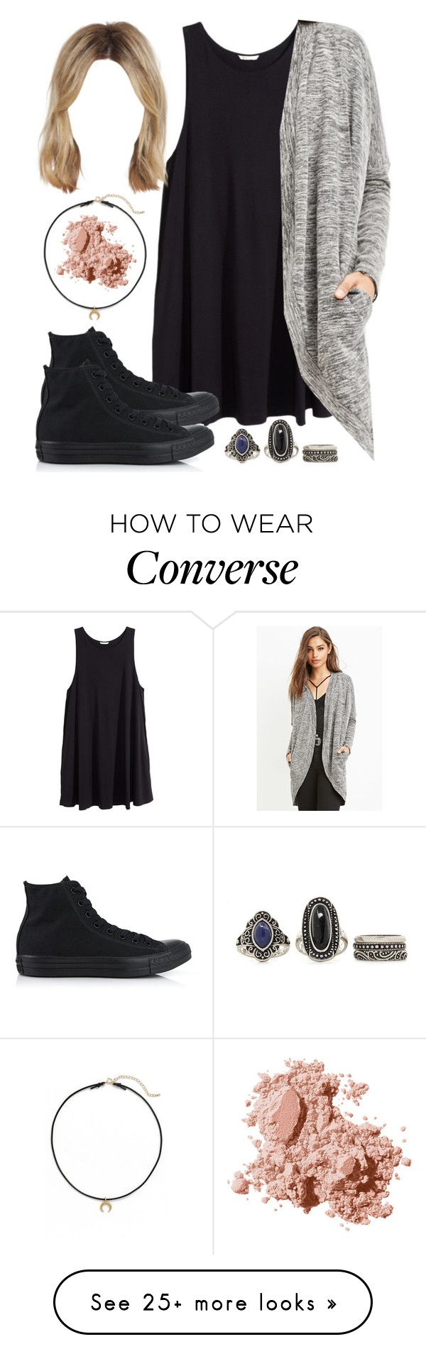 """Edgy Hanna Marin inspired outfit with all black Converse sneakers"" by liarsstyle on Polyvore featuring H&M, Forever 21, Converse, Dogeared and Bobbi Brown Cosmetics"