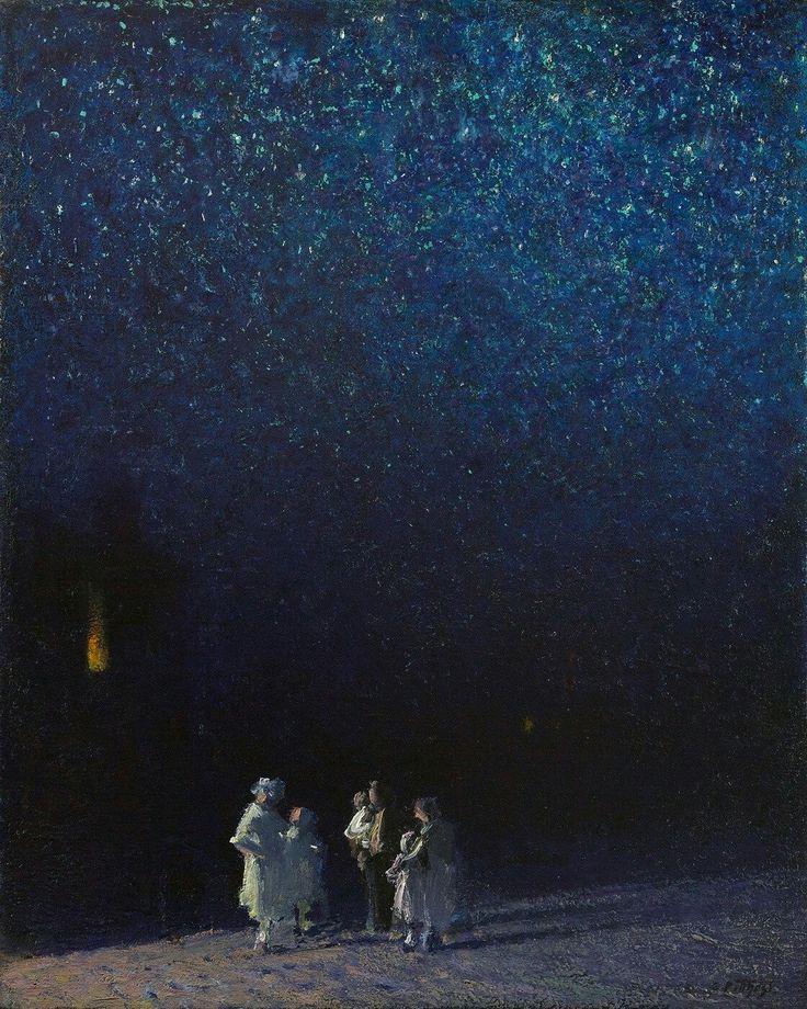 Edward Potthast, American Impressionist, Starry Night, oil