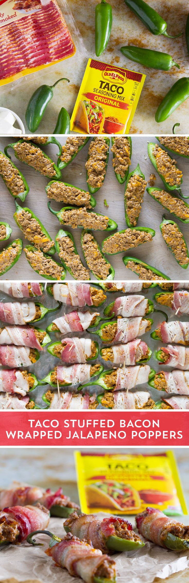 """Jalapeno poppers get """"Tex-Mex-ified"""" with these spicy mouthfuls from @tasteandtell. Fresh jalapenos get stuffed with cooked ground beef seasoned with Old El Paso™ Taco Seasoning mixed with softened cream cheese and shredded Cheddar cheese. If that isn't enough, the stuffed jalapenos then get wrapped in bacon before heading into the oven for 30 minutes. Bacon, melted cheese, taco flavors, a little kick . . . you may have just found a new game day favorite!"""