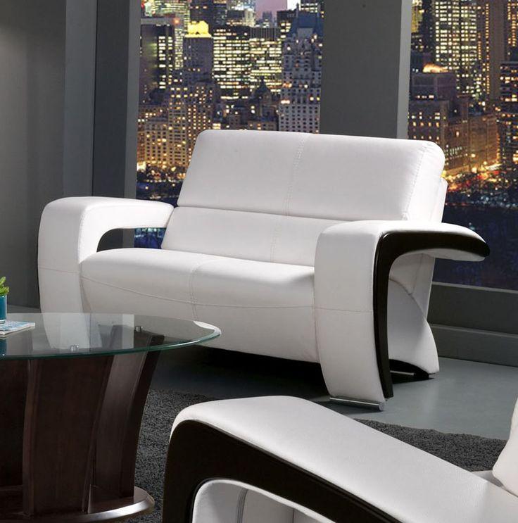 SM6013-LV Enez Contemporary White Black Leatherette Loveseat