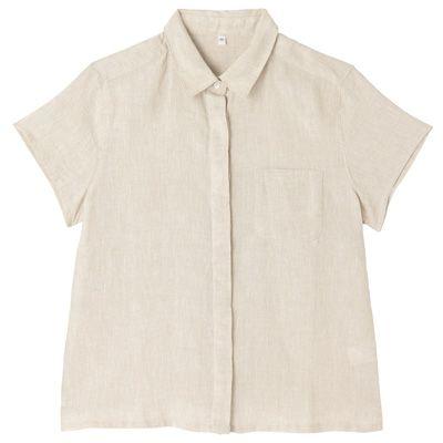 フレンチリネン半袖シャツ 婦人S・生成