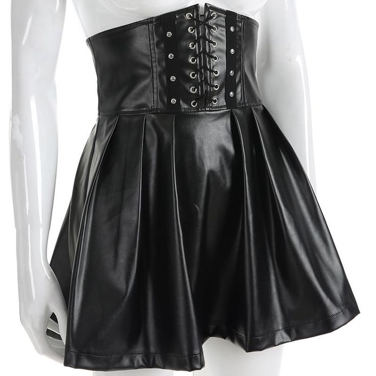 """Innocent"" PVC Wetlook Skater Skirt"