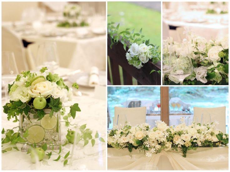 リゾート地での別荘を貸し切ってのウェディングパーティー。夏の避暑地に合うよう、白とグリーンでまとめた正統派スタイルの会場装花に仕上げました。 器にはスライスした本物のライムを入れて涼しげな雰囲気に。 他にも青リンゴやぶどう等もアレンジに加えています。 室内だけでなくテラスにもお花を飾ってトータルコーディネート。 ◆ kukka design ◆ 東京・三軒茶屋にあるウェディングフラワーのオーダーメイドアトリエ http://www.kukka-flowers.com
