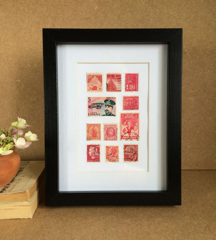 Vintage Framed Stamps - Pink by Bettyandbetts on Etsy