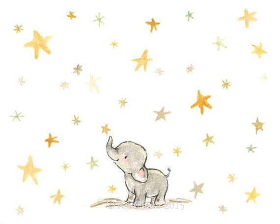 Nursery Art  Wishing Elephant  Art Print by trafalgarssquare