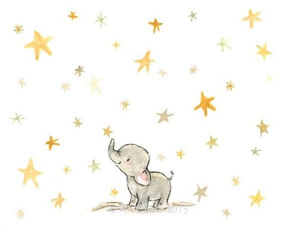 Nursery Art Wishing Elephant Art Print by trafalgarssquare