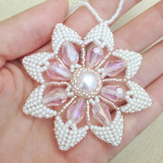 White and Pink Beaded Snowflake Ornament beaded ornament