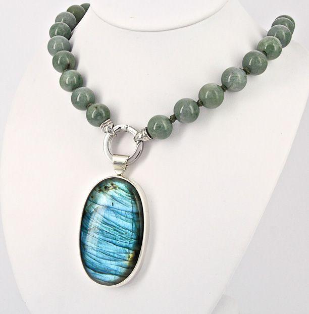 Jade and labradorite necklace