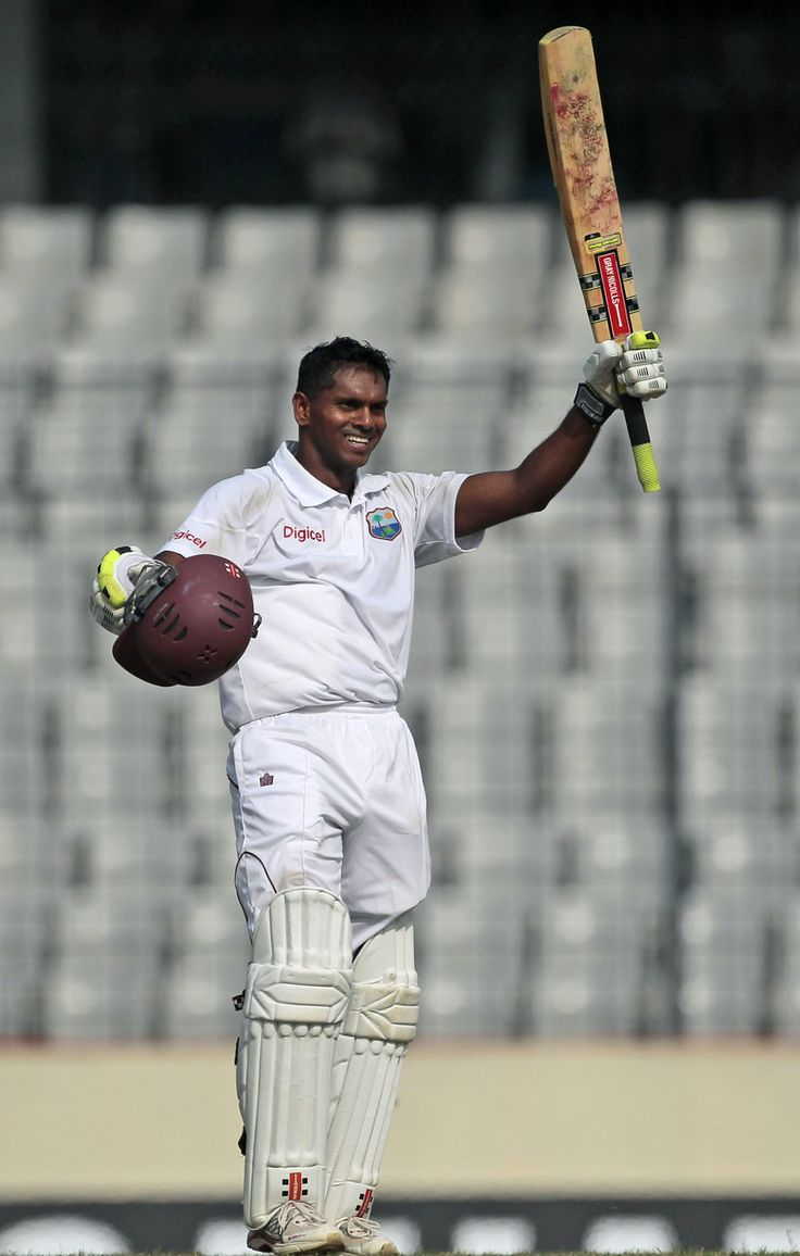 Chanderpaul (WI) 203* celebrates double century vs Bangladesh, 1st Test, Mirpur, 2nd day, Nov 14, 2012
