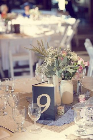 Country Chic DIY Wedding Details {Part 2} | Confetti Daydreams - DIY vintage book table numbers  ♥  ♥  ♥ LIKE US ON FB: www.facebook.com/confettidaydreams  ♥  ♥  ♥  #CountryChic #Burlap #Lace #DIY