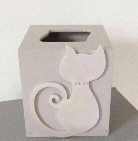 Boite à mouchoir gris chat