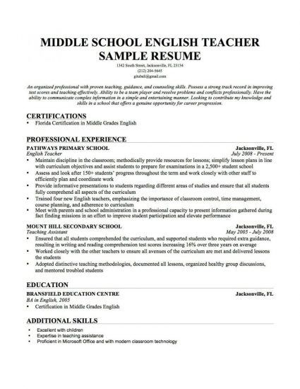 The 25+ best Good resume objectives ideas on Pinterest Career - middle school teacher resume