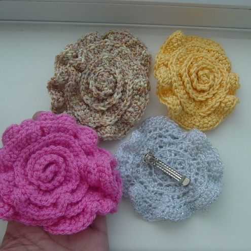 Crochet Hair Rubber : Crochet hair grips rose Crochet Popular Crafts Craft Juice