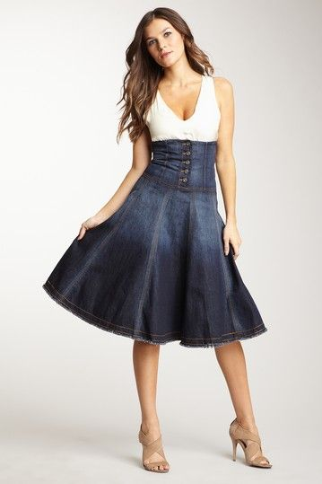 corset denim skirt