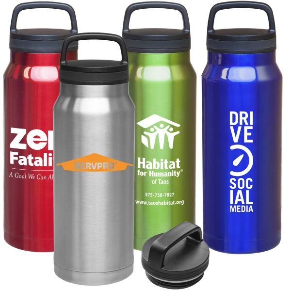 "34 oz stainless steel, double wall, vacuum insulated, wide mouth bottle with screw on spill proof comfort grip handle, lid. 11"" tall. BPA free. One color/two location imprint included. 6 day production. One color maximum imprint."