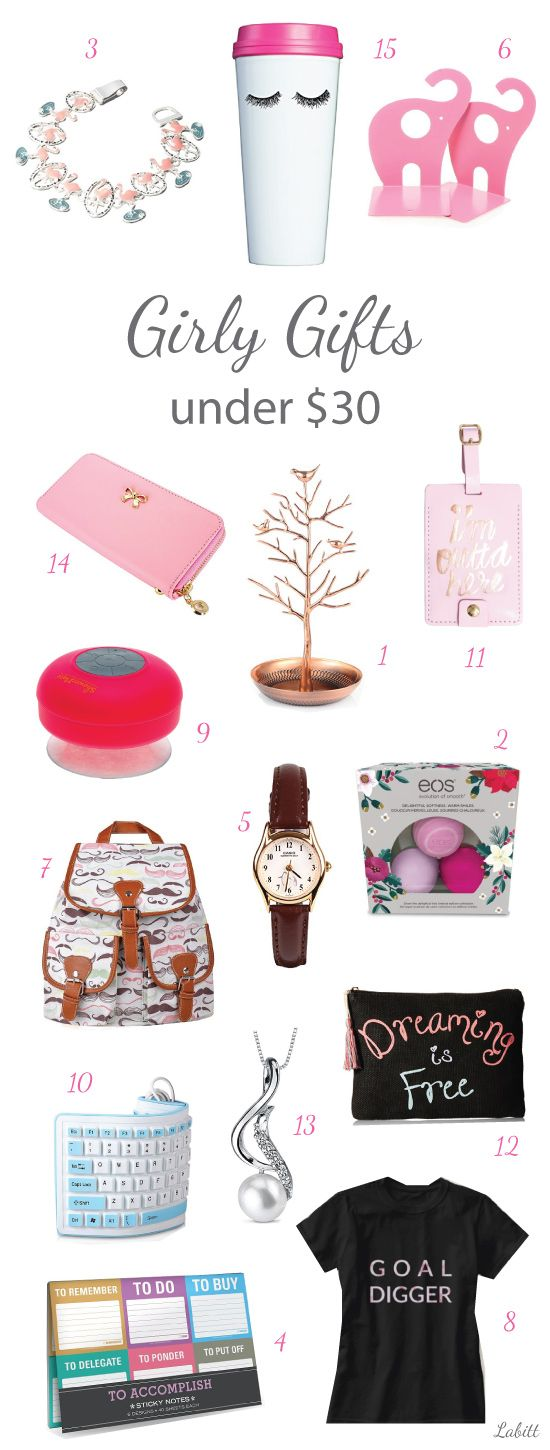 Cute, hip and girly gifts for young adults. Christmas gifts under $30. Suitable for young women, college girls, and teen girls.