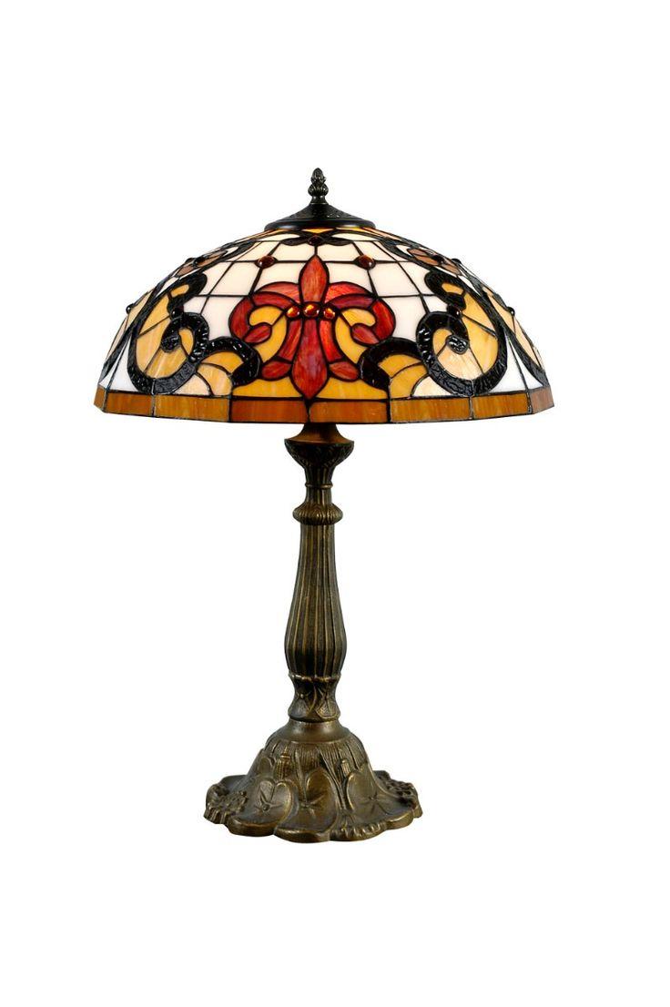 Lampara De Mesa Tiffany En Vitreaux Flor De Lis - $ 5.393,00 en MercadoLibre