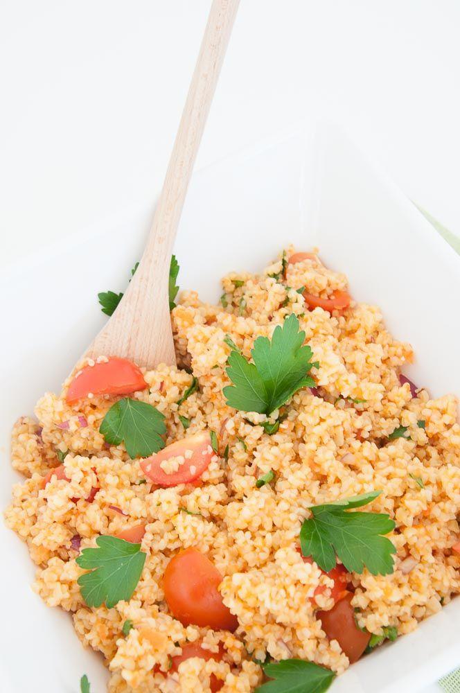 Easy Bulgur Wheat Salad Recipe | VeganFamilyRecipes.com | #whole grains #health #lunch #vegan #vegetarian