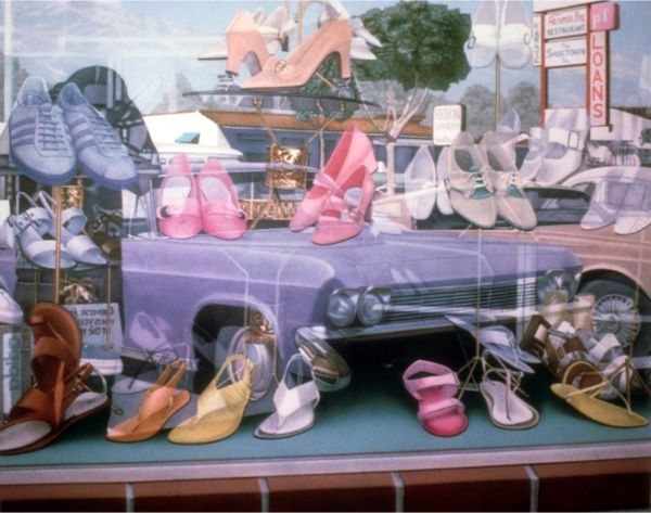 ♛Cool painting of a store window by Don Eddy. Love the vintage feel and how you can see the car reflected in the window.