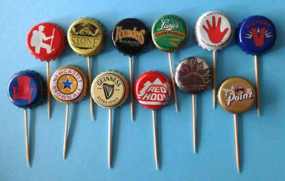 Assorted Beer Bottle Cap Cupcake Toppers by TheBellsNWhistles