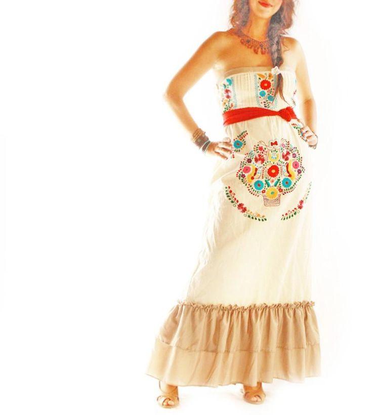 """Aida Coronado """"Maria Folk"""" embroidered maxi ruffled party dress, birds and flowers, bohemian gypsy, $280.00"""