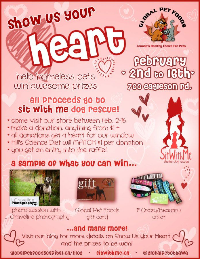 Each Global Pet Foods store selects a shelter or rescue group within their region and all donations are directed to local animal shelters and rescue groups.  This flyer is from the Global Pet Foods store in Kanata (Ottawa region), Ontario.
