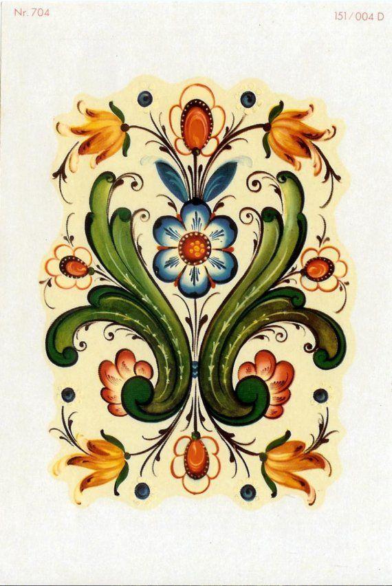 Two rosemaling rosemal decals by bobbinrobin on etsy for Norwegian flower tattoo