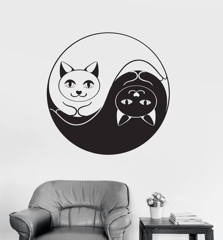 Vinyl Wall Decal Yin Yang Funny Cat Dao Taoism Zen Bedroom Decor Stickers Unique Gift (032ig)
