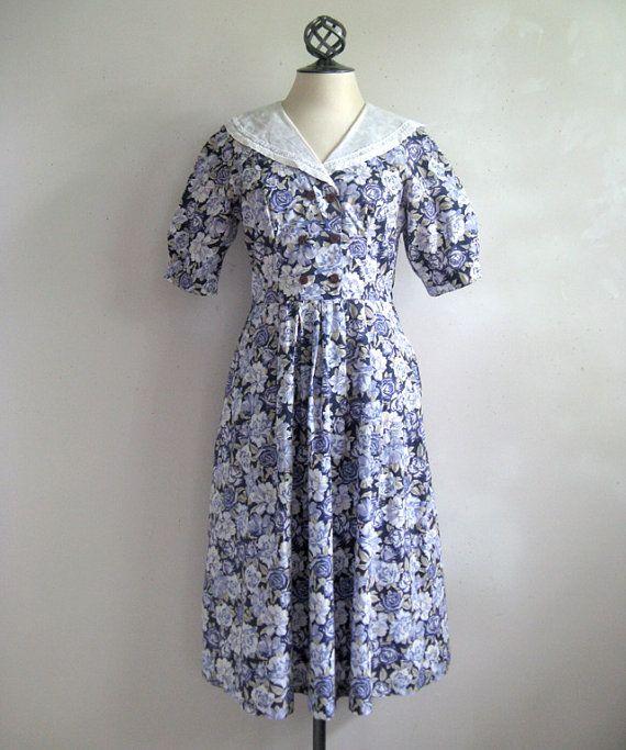 vintage 1980s laura ashley dress navy blue purple floral. Black Bedroom Furniture Sets. Home Design Ideas