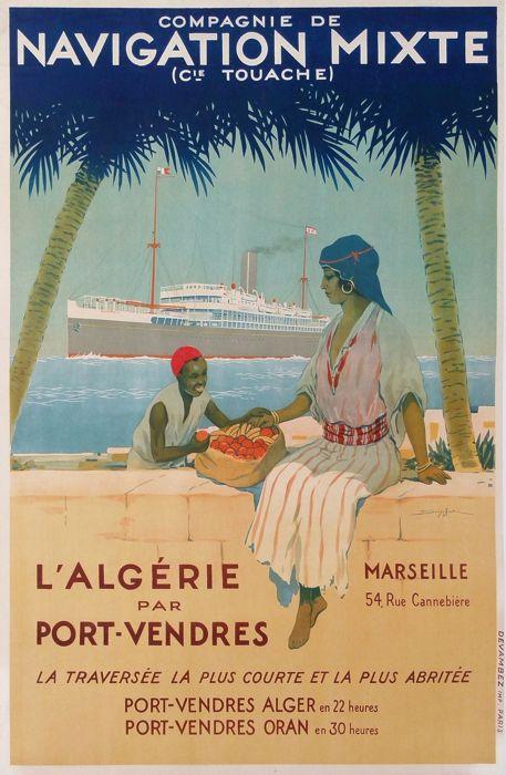 compagnie de navigation mixte algérie par port-vendres : antique vintage posters from SANDY HOOK