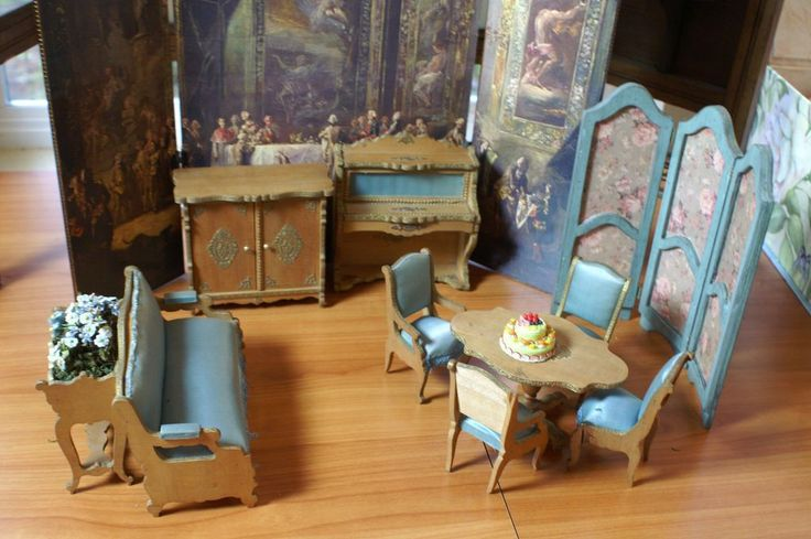 BEAUTIFUL BEBES' ATTIC FINDS on Ruby Lane http://www.rubylane.com/item/717965-RL-000184/9-pc-Early-French-Salon #antiquedoll #dollfurniture