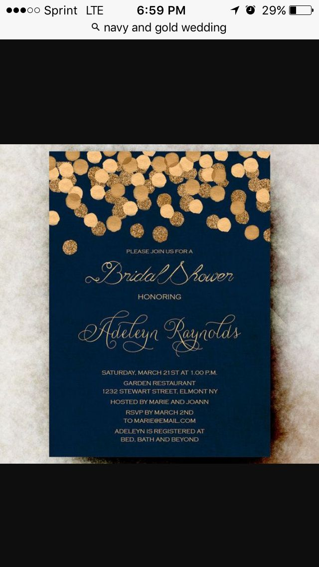 Gold Glittering Confetti bridal shower Invitation printable