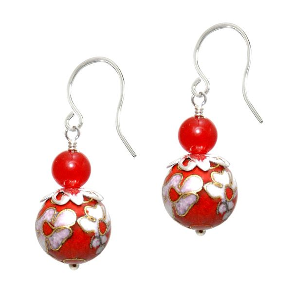 Saffron Cloisonné Earrings - A vibrant 6mm ruby red agate semi precious gemstone sits atop a stunning 10mm red and gold Cloisonné bead. This is one of my most eye-catching and favourite designs.  A beautiful sterling silver design with hand forged ear hooks.