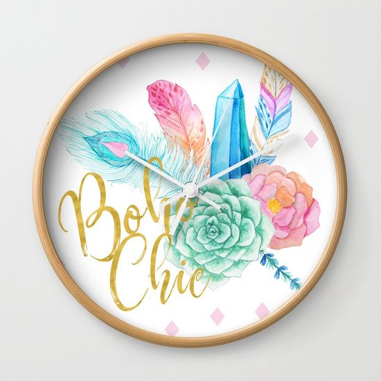 Boho chic brush script girly bohemian blue and pink flowers and feathers wall clock by Ankka