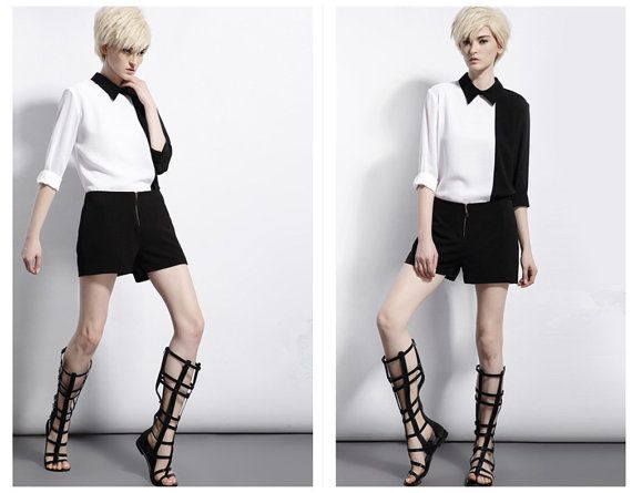 Black and white shirt with long sleeve for women from BWG studios.