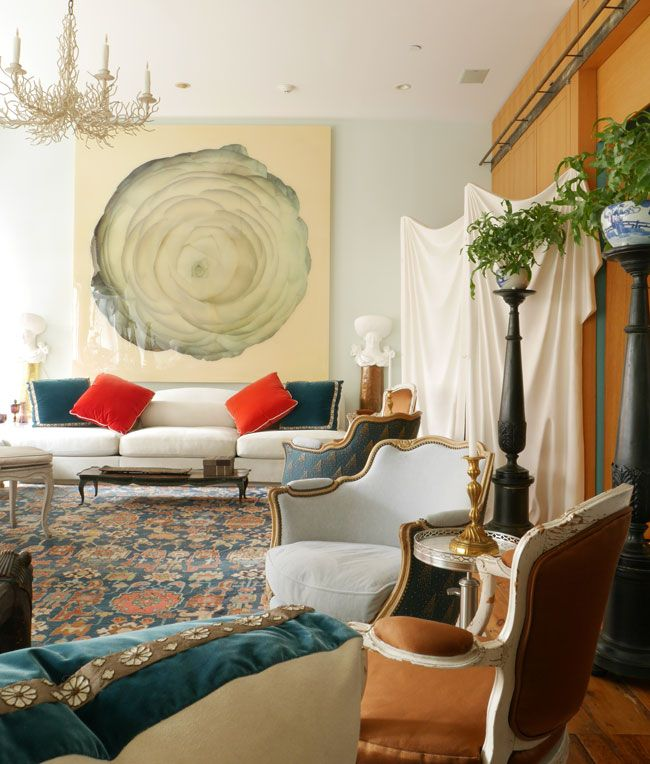 living room in blue%0A  Blue Walls  Blue and carmel  Robert Couturier   New York Social Diary    Blue  Living RoomsLiving