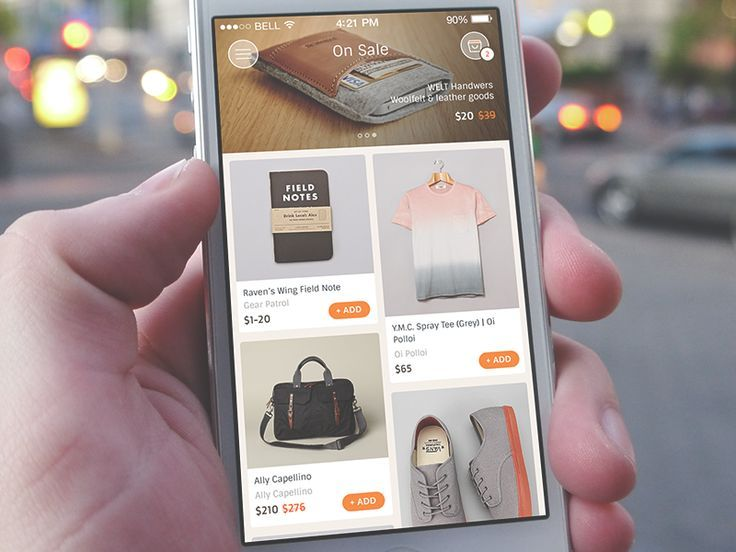 On Sale app sporting slick ecommerce interface
