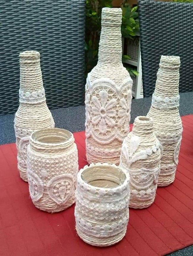 Стильные декоративные бутылки с ажурными элементами