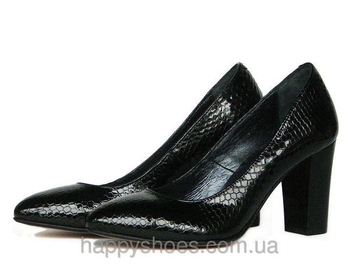 """Черные кожаные фактурные туфли-лодочки : продажа, цена в Запорожье. туфли женские от """"HappyShoes"""" - 283914262"""