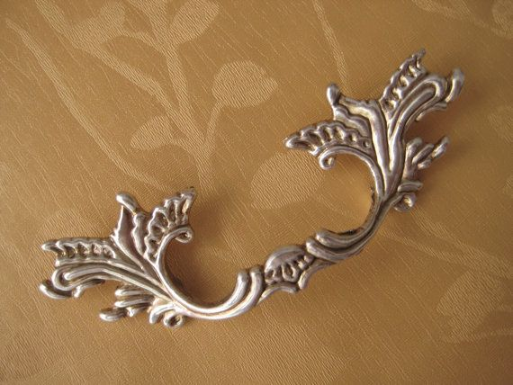 S3habby Chic Dresser Drawer Pulls Handles Silver / French Country Kitchen  Cabinet Handle Pull Antique Furniture